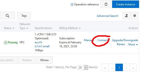 connect ke instance vps ubuntu menggunakan console